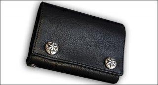 クロムハーツ 財布(Chrome Hearts)3フォールド スターボタン ブラック ヘビーレザーウォレット【クロム・ハーツ】【クロムハーツ財布】【名古屋】
