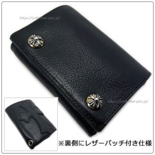 クロムハーツ 財布(Chrome Hearts)3フォールド クロスボタン セメタリーパッチ ブラックヘビーレザーウォレット(クロム・ハーツ)