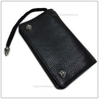 クロムハーツ 財布(Chrome Hearts)2ジップ クロスボタンズ/ストラップブラック ヘビーレザーウォレット【クロム・ハーツ】【クロムハーツ財布】【名古屋】