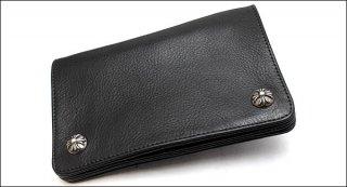 クロムハーツ 財布(Chrome Hearts)2ジップ クロスボタンズ ブラック ヘビーレザー ウォレット【クロム・ハーツ】【クロムハーツ財布】【名古屋】
