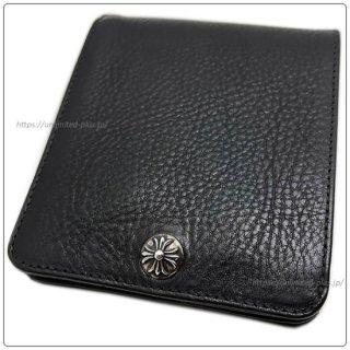 クロムハーツ 財布(Chrome Hearts)ワンスナップ クロスボタンブラック ヘビーレザーウォレット(クロム・ハーツ)