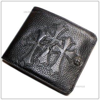 クロムハーツ 財布(Chrome Hearts)ワンスナップ クロスボタンブラック ヘビーレザーウォレット セメタリーパッチーズ(クロム・ハーツ)