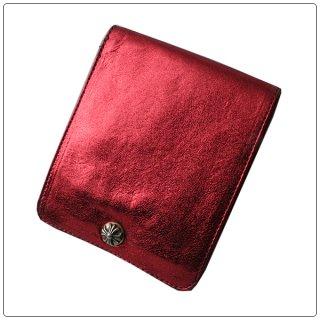 クロムハーツ 財布(Chrome Hearts)ワンスナップ クロスボタン メタリックレッド レザー【クロム・ハーツ】【クロムハーツ財布】【名古屋】
