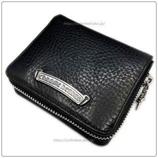 クロムハーツ 財布(Chrome Hearts)スクエア ジップ ビル ブラックレザーウォレット(クロム・ハーツ)