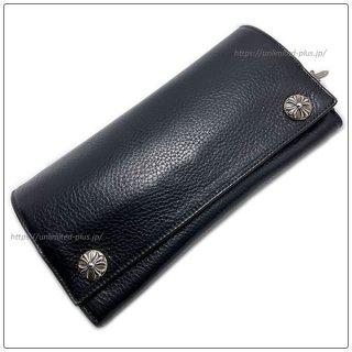 クロムハーツ 財布(Chrome Hearts)ロングクロスボタンブラック ヘビーレザーウォレット【クロム・ハーツ】【クロムハーツ財布】【名古屋】