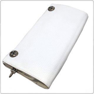 クロムハーツ 財布(Chrome Hearts)ロングクロスボタンホワイト ヘビーレザーウォレット【クロム・ハーツ】【クロムハーツ財布】【名古屋】