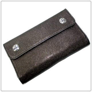 クロムハーツ 財布(Chrome Hearts)ウェーブ ウォレット クロスボタン メタリック ブロンズ レザー【クロム・ハーツ】【クロムハーツ財布】【名古屋】