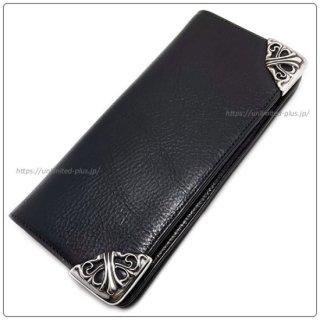 クロムハーツ 財布(Chrome Hearts)ロング シングルフォールド チップス 3ビル ウィズ グロメット ブラック ヘビーレザー(クロム・ハーツ)