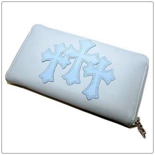 クロムハーツ 財布(Chrome Hearts)ウォレット REC F ZIP#2 3セメタリークロスパッチーズ ベイビーブルー【クロム・ハーツ】【クロムハーツ財布】【名古屋】