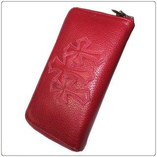 クロムハーツ 財布(Chrome Hearts)REC F ZIP#2 3セメタリークロスパッチ レッド ミディアムレザー【クロム・ハーツ】【クロムハーツ財布】【名古屋】
