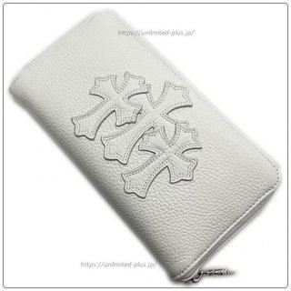 クロムハーツ 財布(Chrome Hearts)REC F ZIP#2 3セメタリークロスパッチ ホワイト ヘビーレザー【クロム・ハーツ】【クロムハーツ財布】【名古屋】