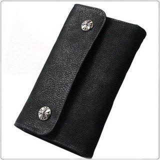 クロムハーツ 財布(Chrome Hearts)ウェーブ ウォレット クロスボタン ブラックデストロイレザー【クロム・ハーツ】【クロムハーツ財布】【名古屋】