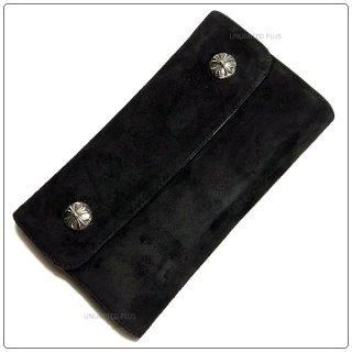 クロムハーツ 財布(Chrome Hearts)ウェーブ ウォレット クロスボタン ブラック スウェードレザー(クロム・ハーツ)