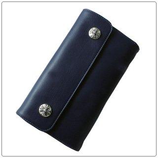 クロムハーツ 財布(Chrome Hearts)ウェーブ ウォレット クロスボタン ネイビー ライトレザー【クロム・ハーツ】【クロムハーツ財布】【名古屋】