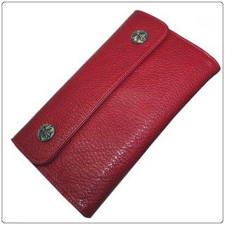 クロムハーツ 財布(Chrome Hearts)ウェーブ ウォレット クロスボタン レッドミディアムレザー【クロム・ハーツ】【クロムハーツ財布】【名古屋】