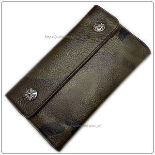 クロムハーツ 財布(Chrome Hearts)ウェーブ ウォレット クロスボタン タンクカモヘビーレザー【クロム・ハーツ】【クロムハーツ財布】【名古屋】