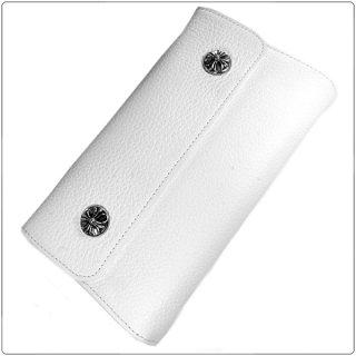 クロムハーツ 財布(Chrome Hearts)ウェーブ ウォレット クロスボタン ホワイトヘビーレザー【クロム・ハーツ】【クロムハーツ財布】【名古屋】