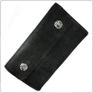 クロムハーツ 財布(Chrome Hearts)ウェーブ ウォレット BSフレアボタン ブラックデストロイレザー【クロム・ハーツ】【クロムハーツ財布】【名古屋】