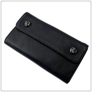 クロムハーツ 財布(Chrome Hearts)ウェーブ ウォレット BSフレアボタンズ ブラックロジウム ブラックミディアムレザー【クロム・ハーツ】【クロムハーツ財布】【名古屋】