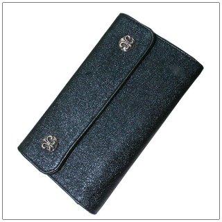 クロムハーツ 財布(Chrome Hearts)ウェーブ ウォレット BSフレアボタン メタリックブルーレザー【クロム・ハーツ】【クロムハーツ財布】【名古屋】