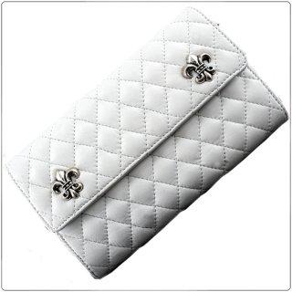 クロムハーツ 財布(Chrome Hearts)ウェーブ#4 ウォレット キルテッド 3スナップ BSフレア ホワイトライトレザー【クロム・ハーツ】【クロムハーツ財布】【名古屋】