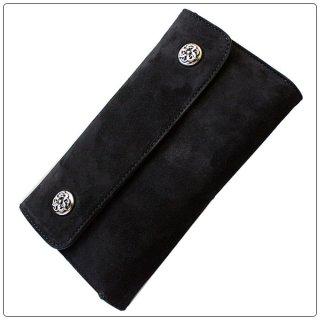 クロムハーツ 財布(Chrome Hearts)ウェーブ ウォレット ケルティック ボタン ブラック スウェードレザー【クロム・ハーツ】【クロムハーツ財布】【名古屋】