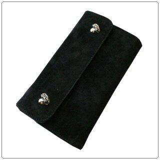 クロムハーツ 財布(Chrome Hearts)ウェーブ ウォレット ハートボタン ブラック スウェードレザー【クロム・ハーツ】【クロムハーツ財布】【名古屋】