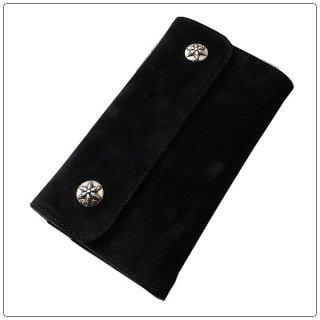 クロムハーツ 財布(Chrome Hearts)ウェーブ ウォレット スターボタン ブラック スウェードレザー【クロム・ハーツ】【クロムハーツ財布】【名古屋】