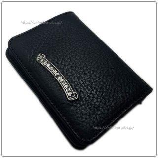クロムハーツ 財布(Chrome Hearts)カードケースV1 3ポケットワイド スクロールブラック ヘビーレザーウォレット(クロム・ハーツ)