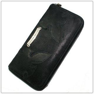 クロムハーツ 財布(Chrome Hearts)REC F ZIP#3ダブルフレアニー ブラック デストロイレザー ウォレット【クロム・ハーツ】【クロムハーツ財布】【名古屋】