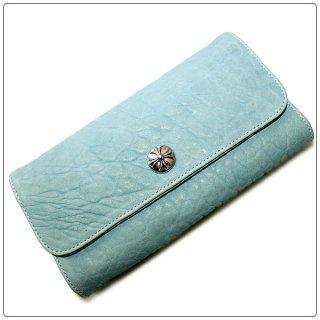 クロムハーツ 財布(Chrome Hearts)ジュディ クロスボタン スカイブルー レザー【クロム・ハーツ】【クロムハーツ財布】【名古屋】