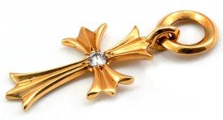 クロムハーツ(Chrome Hearts)ペンダント タイニー CHクロス チャーム 22Kゴールド ダイアモンド (ネックレス)【クロム・ハーツ】【クロムハーツ財布】【名古屋】
