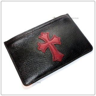 クロムハーツ 財布(Chrome Hearts)ウォレット ジッパーチェンジパース #2 ブラック ヘビー レッド レザー セメタリーパッチ (メンズ)(長財布)(クロム・ハーツ)