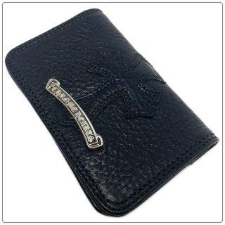 クロムハーツ 財布(Chrome Hearts)カードケース#2 GRMT/スクロール セメタリーレザーパッチ ブラックヘビーレザー ウォレット(クロム・ハーツ)