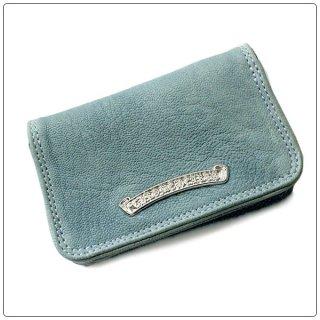 クロムハーツ 財布(Chrome Hearts)カードケース#2 グロメット/スクロール スカイブルー レザーウォレット【クロム・ハーツ】【クロムハーツ財布】【名古屋】