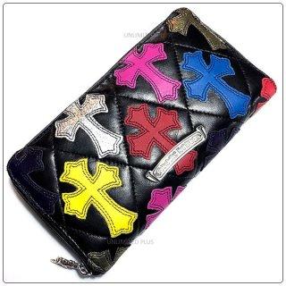 クロムハーツ 財布(Chrome Hearts)REC F ZIP#2 キルティングセメタリークロス ブラック ライトレザー マルチカラー レザーパッチ【クロム・ハーツ】