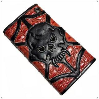 ノースショアレザー 財布(NORTH SHORE LEATHER)ウォレット ラージ3フォールド FAUXゲーター ボディ スティングレー インレイ スカル (007スカル フェイス) (財布)