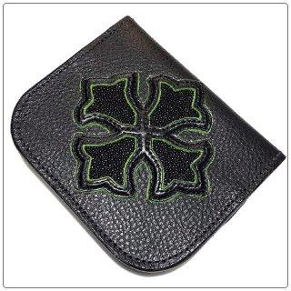 ノースショアレザー 財布(NORTH SHORE LEATHER)コインケース シュランカン ブル ショルダー ボディー ブラック スティングレイ インレイ クロス (財布)