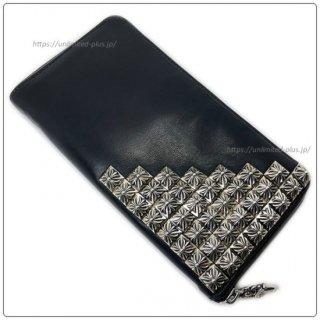 クロムハーツ 財布(Chrome Hearts)REC F ZIP#2 ピラミッドコーナー ボックス クロス ブラック ライトレザー ウォレット【クロム・ハーツ】