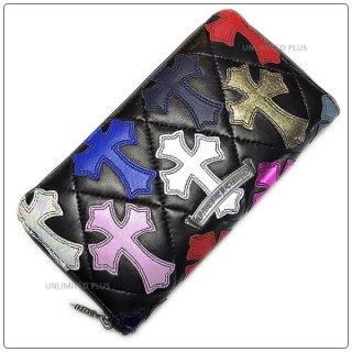 クロムハーツ 財布(Chrome Hearts)REC F ZIP#2 キルティングセメタリークロス ブラック ライトレザー マルチカラー レザーパッチ / アイテムNO,3【クロム・ハーツ】
