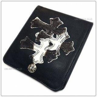 クロムハーツ 財布(Chrome Hearts)ワンスナップ クロスボタンブラック ミディアム レザー ウォレット 3セメタリーパッチーズ【クロム・ハーツ】