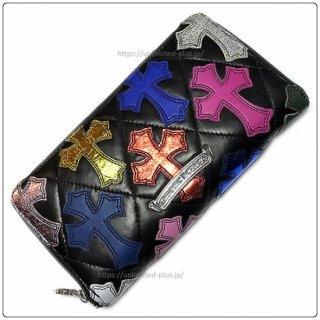 クロムハーツ 財布(Chrome Hearts)REC F ZIP#2 キルティングセメタリークロス ブラック ライトレザー マルチカラー レザーパッチ / アイテムNo,5【クロム・ハーツ】
