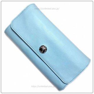 クロムハーツ 財布(Chrome Hearts)ジュディ ベイビーブルー レザー クロスボタン ロジウムプレーテッド シルバー【クロム・ハーツ】【クロムハーツ財布】【名古屋】