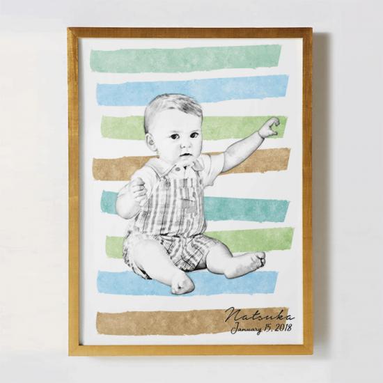 ベビーの写真をリメイクして作るオリジナルポスター〜SKETCH〜 【出産祝い・1歳誕生日に】