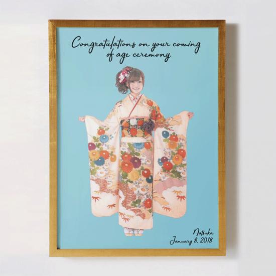 振袖の全身写真をリメイクして作るオリジナルポスター 〜SUISAI〜 【成人式の記念に】