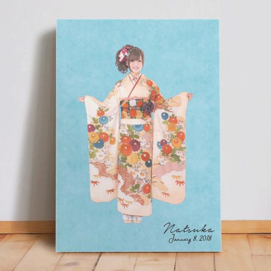 振袖の全身写真をリメイクして作るオリジナルファブリックパネル 〜SUISAI〜 【成人記念に】