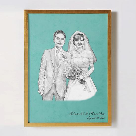 結婚式の記念写真をリメイクして作るオリジナルポスター 〜SKETCH〜 【お祝いやギフトに】