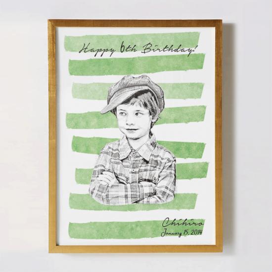 子供の写真をリメイクして作るオリジナルポスター 〜SKETCH  ボーダー〜 【記念日やギフトに】