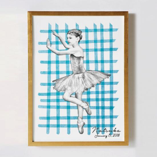 子供の写真をリメイクして作るオリジナルポスター〜SKETCH  ギンガムチェック〜 【記念日やギフトに】