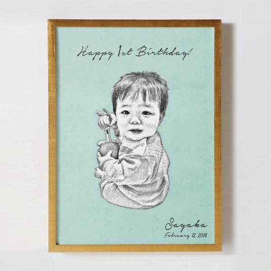 子供の写真をリメイクして作るオリジナルポスター〜SKETCH 無地〜 【記念日やギフトに】